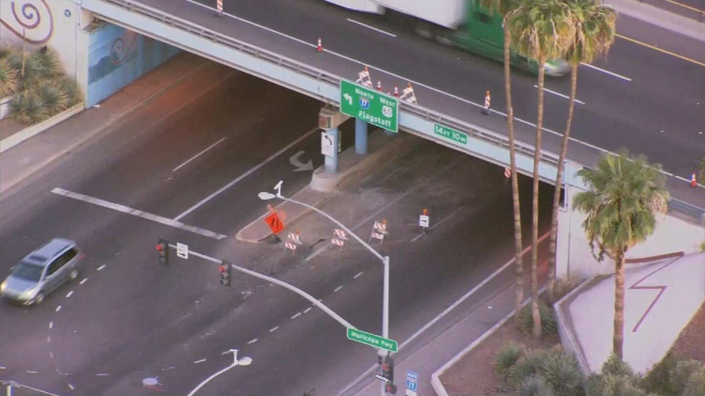 Northbound Seventh Avenue is narrowed to one lane at the Interstate 17 interchange in Phoenix after an over-height vehicle struck the bridge, according to the Arizona Department of Transportation. (Source: 3TV/CBS 5)
