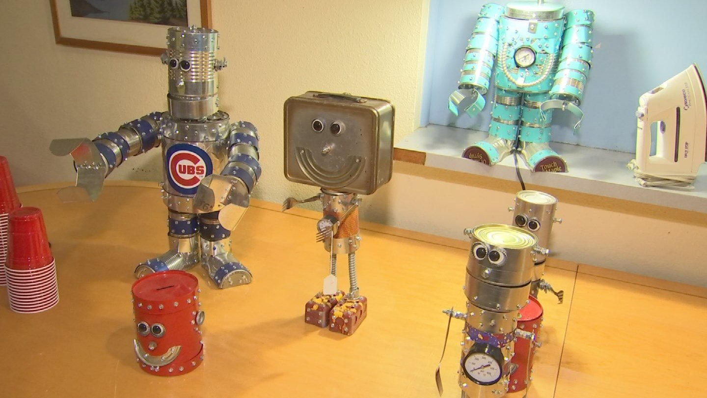 He uses the cans from the food he buys to make robots, which he sells to pay for more food for the homeless. (Source: 3TV/CBS 5)