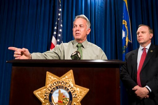 Clark County Sheriff Joe Lombardo, left, with Aaron C. Rouse, special agent in charge for the FBI in Nevada, discusses the Route 91 Harvest festival mass shooting at the LVMP Dept.