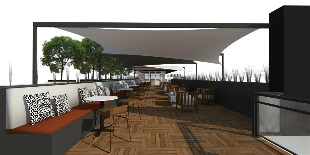 Rendering of restaurant-type seating for Arrive Phoenix. (Source: Vintage Partners)