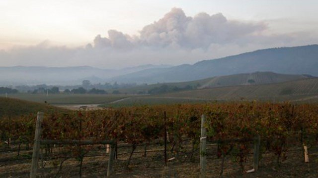 Smoke from wildfires in the Sonoma Valley makes its way toward the Napa Valley, in this view from the Carneros wine region, Tuesday, Oct. 10, 2017, in Napa, Calif. (Source: AP Photo/Eric Risberg)