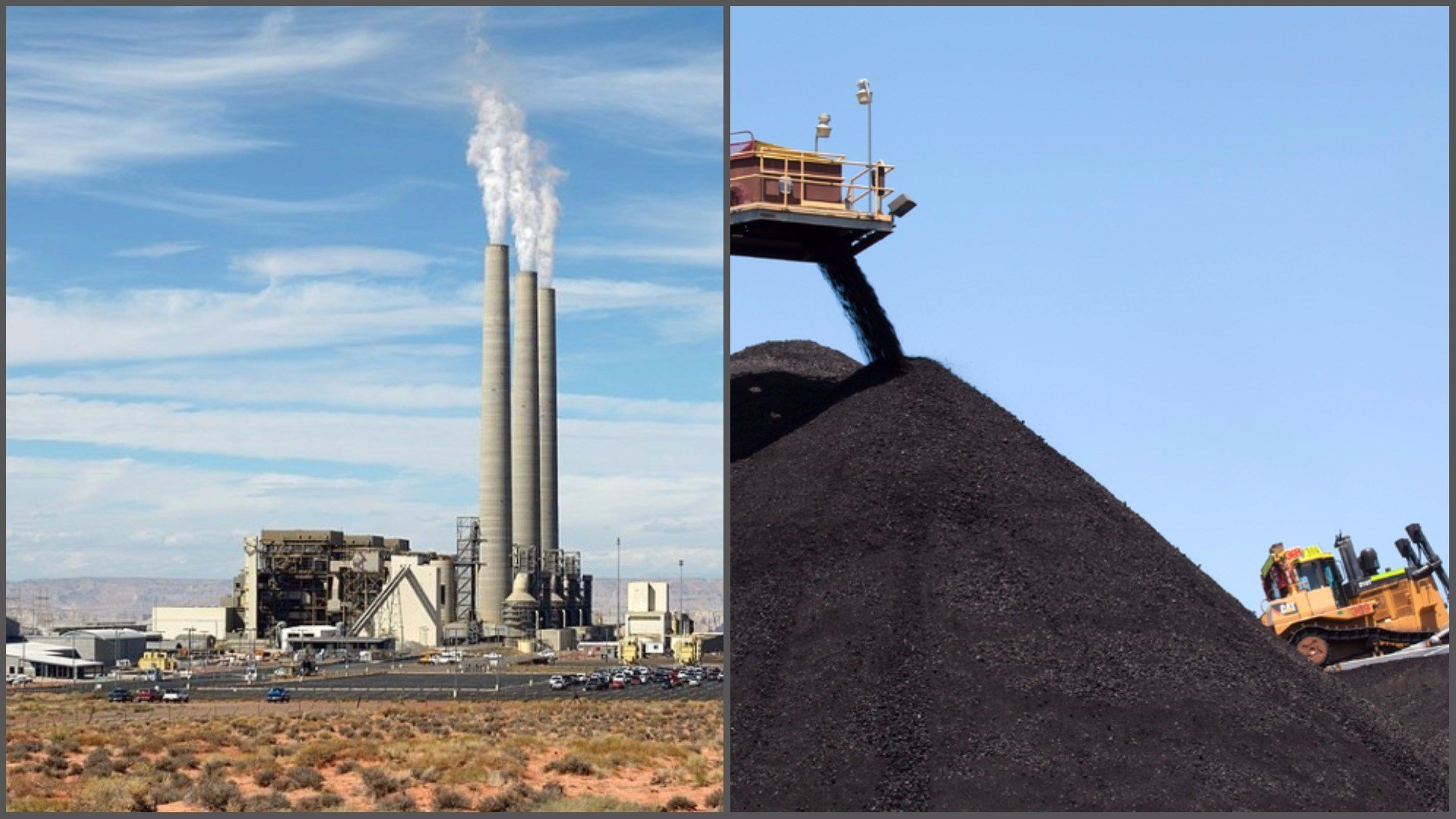 Navajo Generating Station (left) and coal stockpile at Kayenta Mine (Source: Wolfgang Moroder and Peabody Energy)