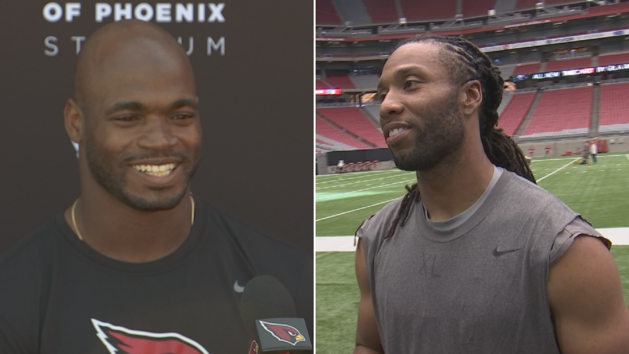 Larry Fitzgerald and Adrian Peterson are finally teammates. (Source: 3TV/CBS 5)