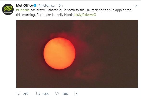 Opehlia turned sun orange over London