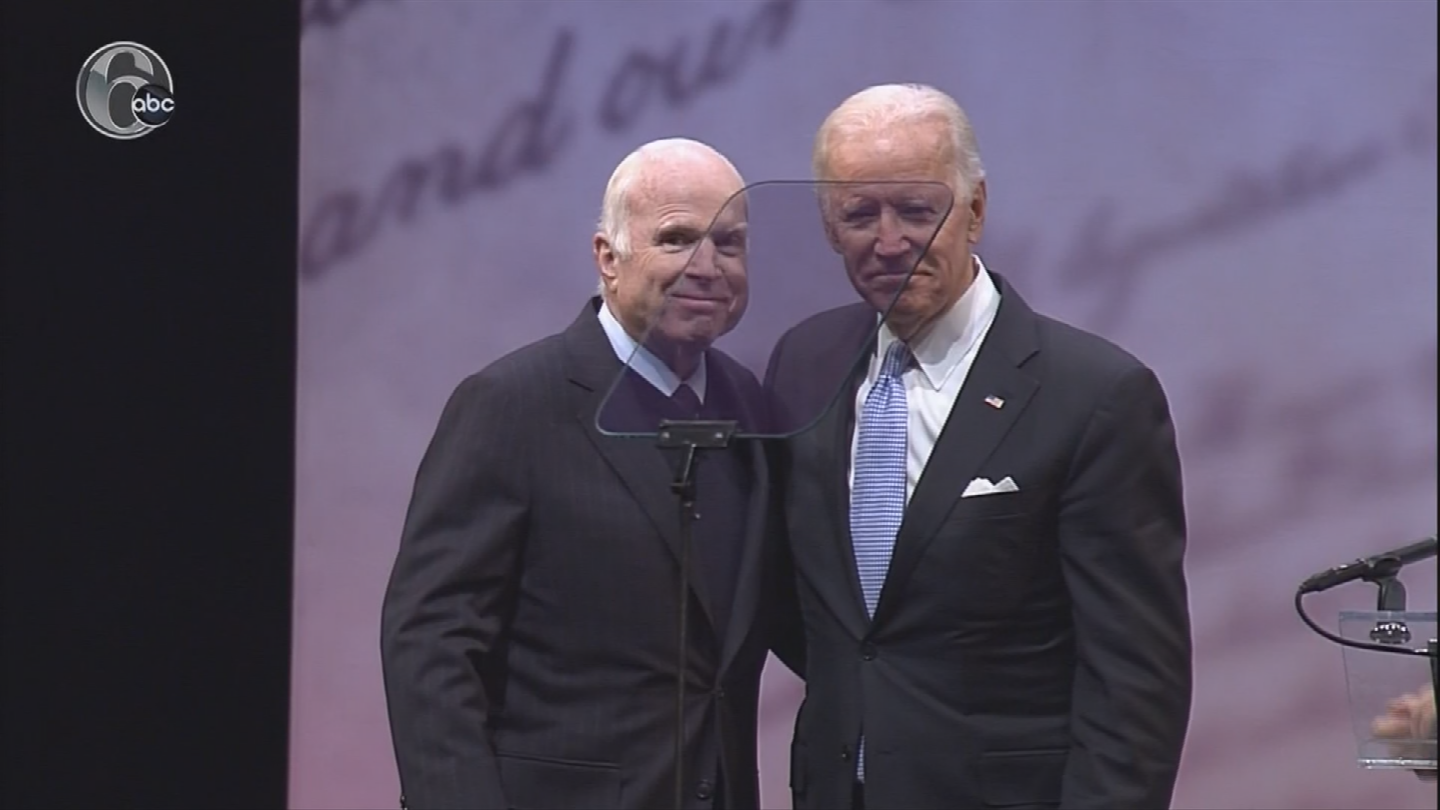 """Senator John McCain got emotional Monday while accepting the Liberty Medal for his decades of public service.  But McCain didn't just offer a """"thank you"""" speech. (Source: 3TV/CBS 5)"""