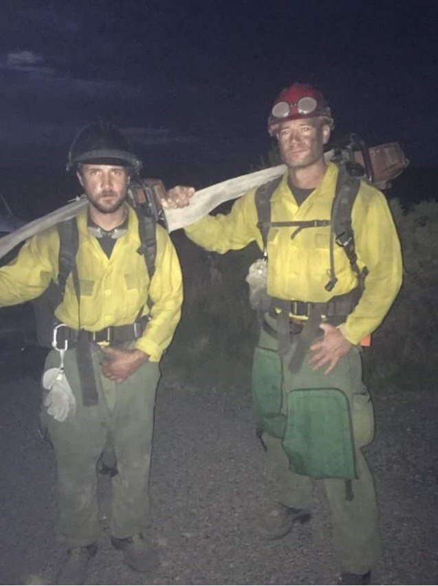 Brandon Bunch and Scott Fox on the set of 'Only the Brave' (Source: Black Label Media and Sony Pictures)