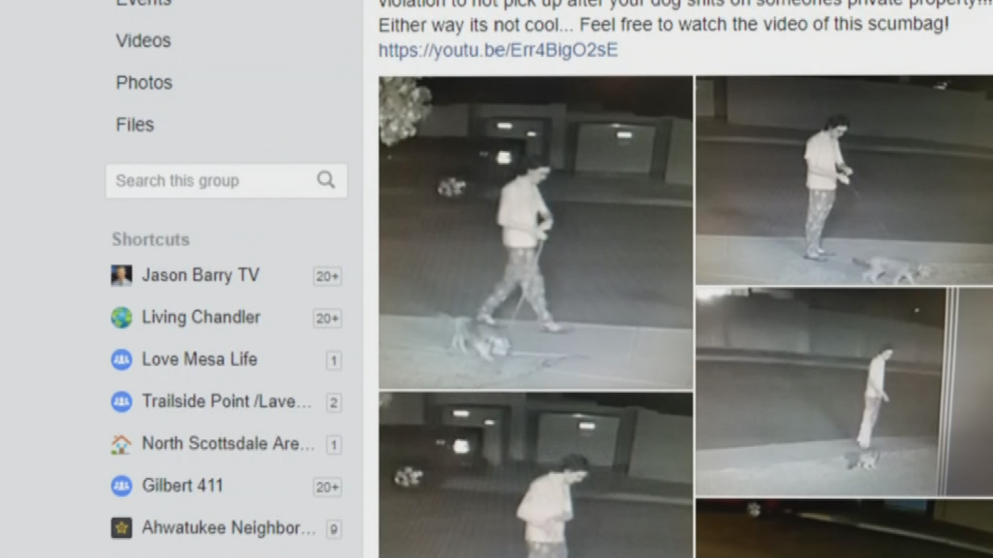 A nearby homeowner recently posted surveillance photos on social media, showing someone letting their dog poop on his front lawn, then walk away. (Source: 3TV/CBS 5)