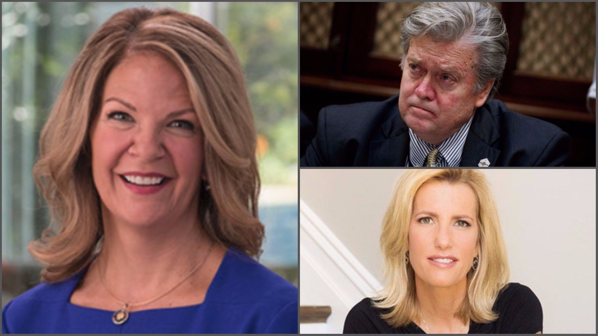 Former presidential strategist Steve Bannon plans to appear with Arizona Senate candidate Kelli Ward in a program headlined by conservative radio host Laura Ingraham. (Sources: KelliWard.com, AP, Deborah Feingold)