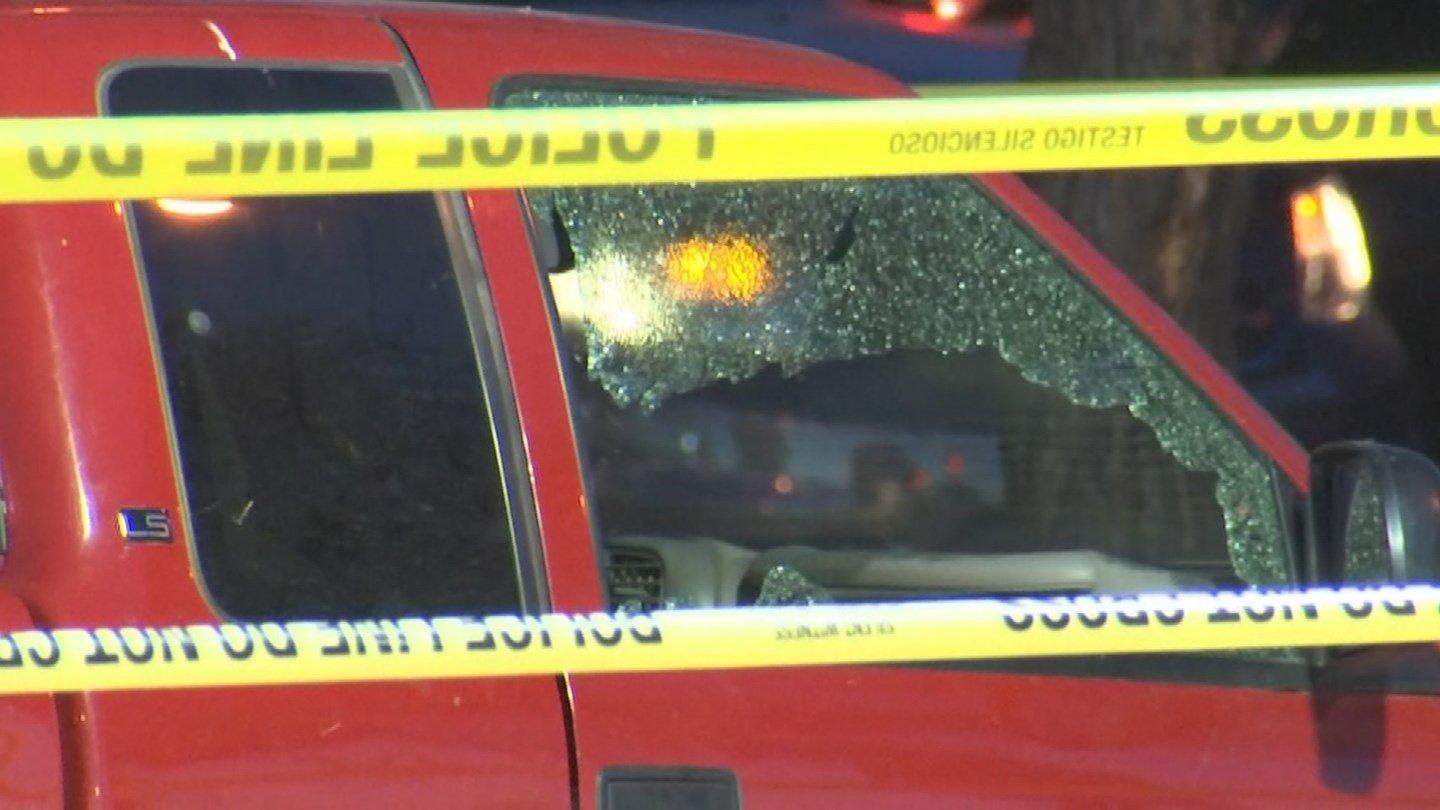 The window of this pickup truck shattered when the driver was shot on Interstate 17 near Camelback Road on Wednesday morning. (Source: 3TV/CBS 5)