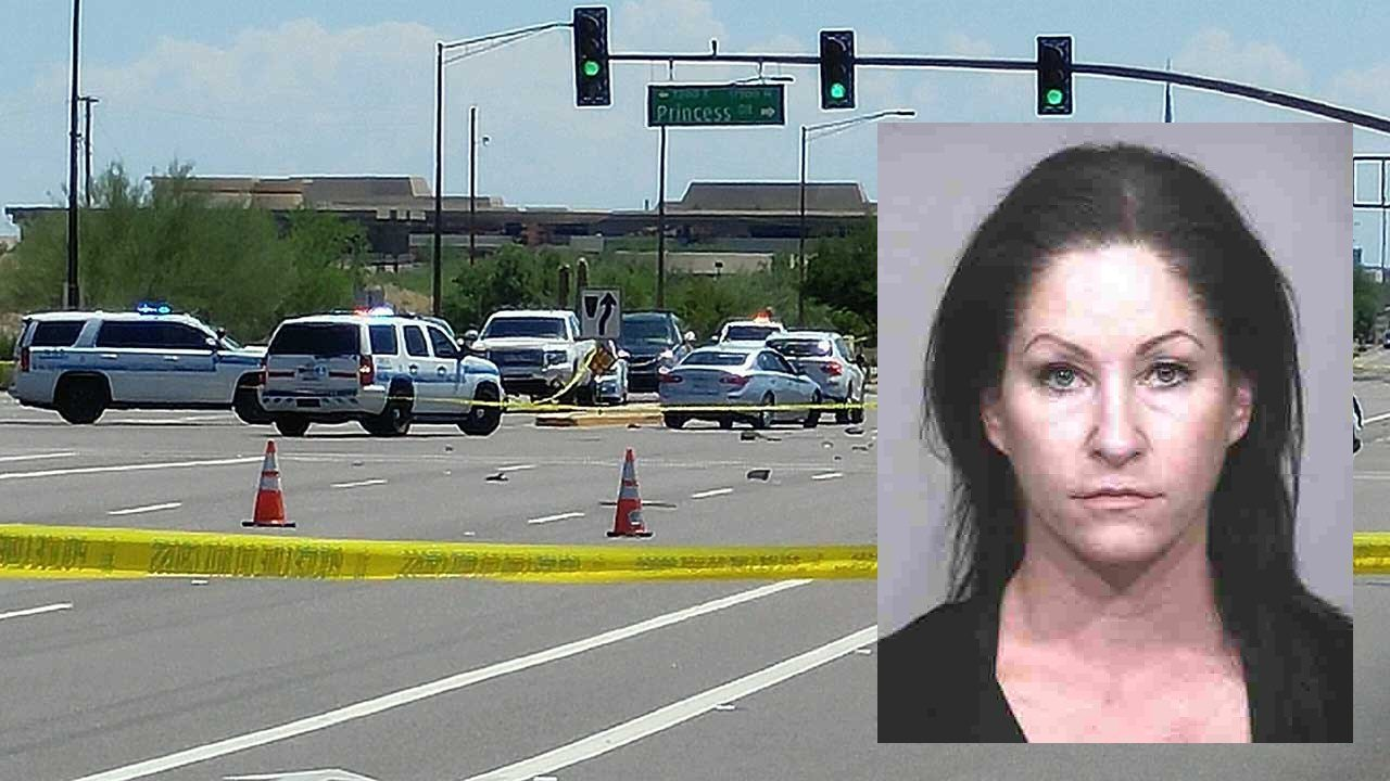 Investigators said Tracy Shelden Morehouse had a blood alcohol concentration of 0.355 percent when she hit Greg Dolphin, who was stopped at the red light on Scottsdale Road at Princess Drive. (Source: 3TV/CBS 5 and Scottsdale Police Dept.)