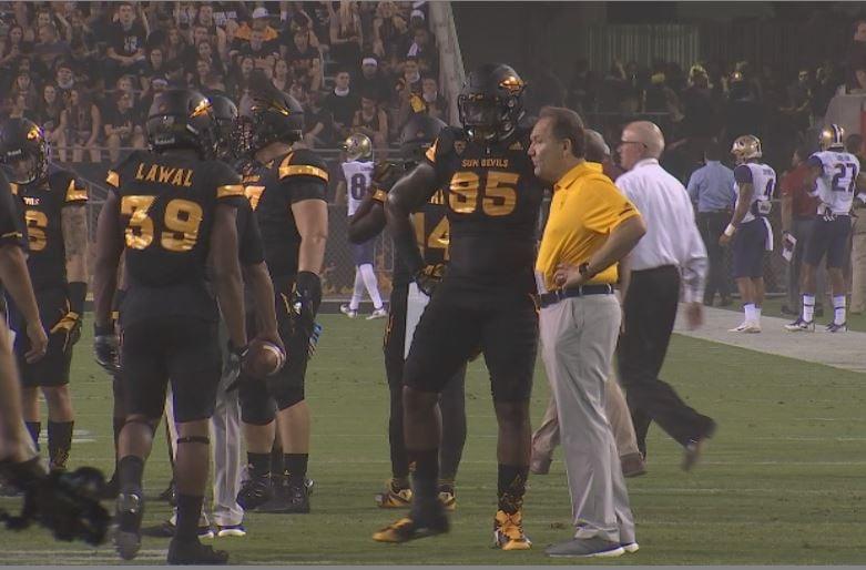 ASU Junior Renell Wren talks to Defensive Coordinator Phil Bennett