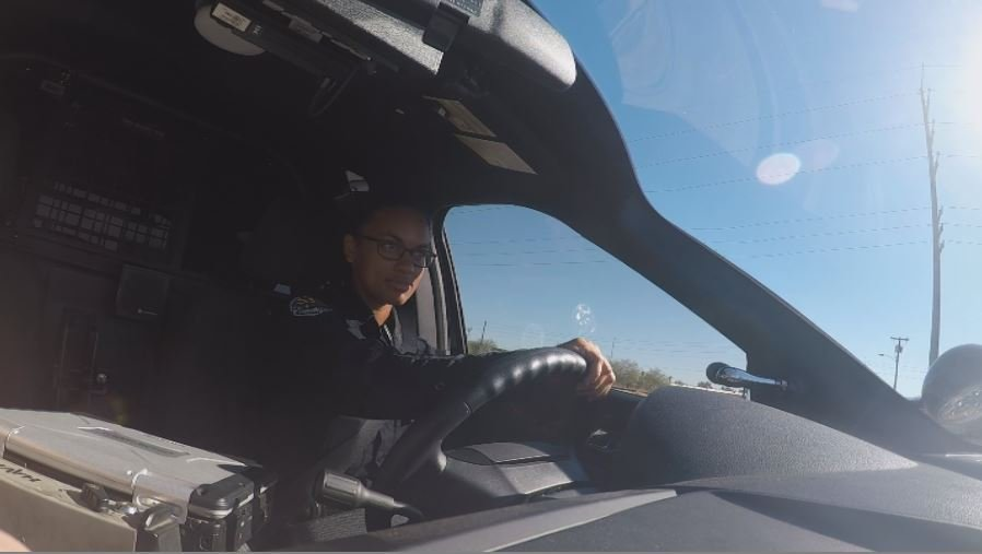 Chandler Police Officer Nicole Upshaw makes her morning rounds.