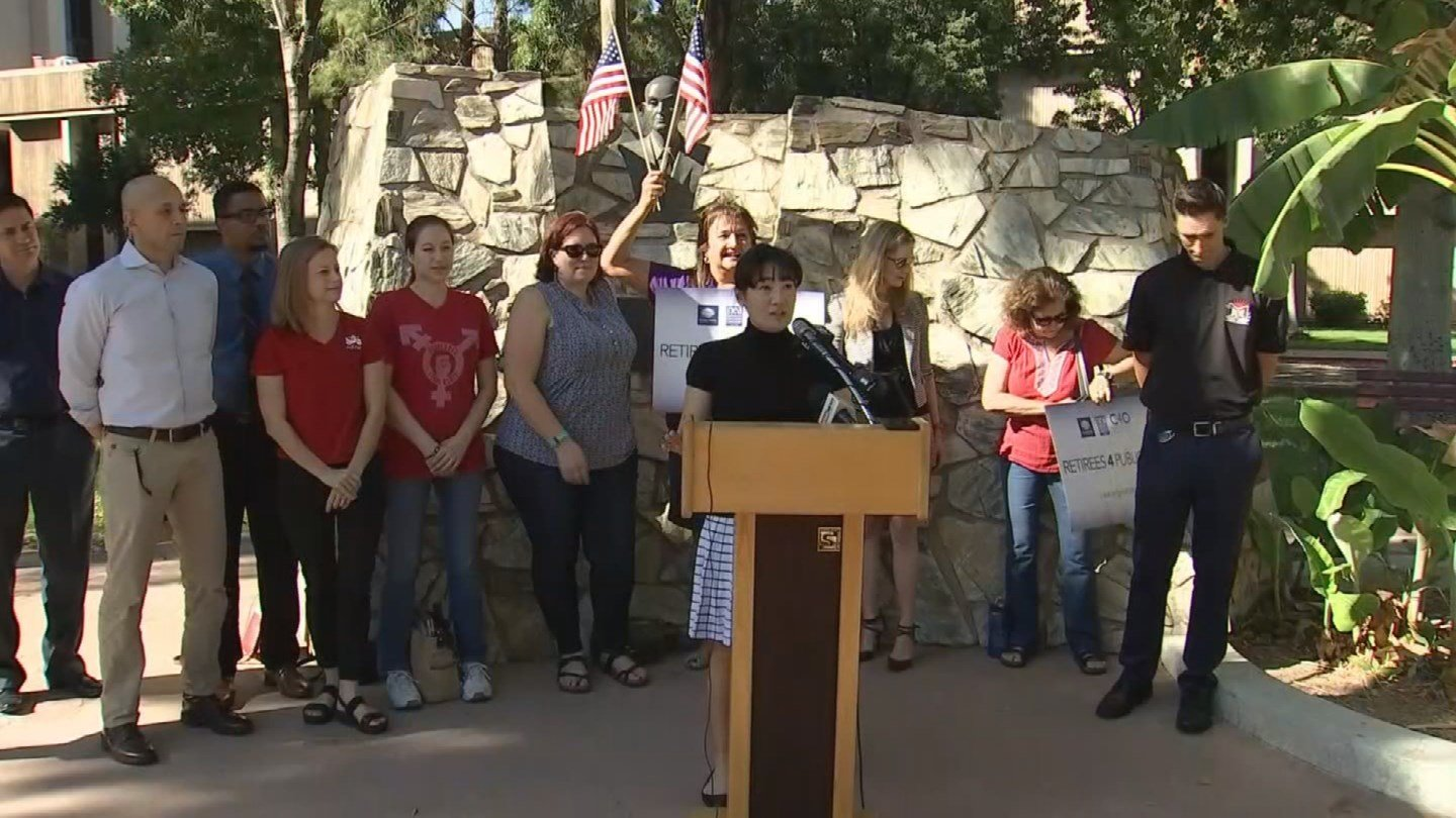 Education advocates held a news conference at the State Capitol on Friday to demand pay raises for teachers. (Source: 3TV/CBS 5)