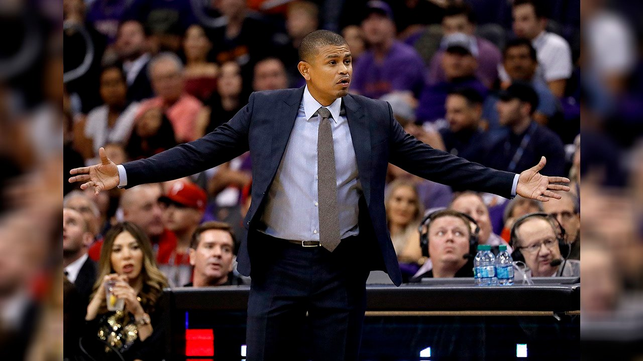 Phoenix Suns coach Earl Watson reacts to a call during the first half of the team's NBA basketball game against the Portland Trail Blazers, Wednesday, Oct. 18, 2017, in Phoenix. (Source: AP Photo/Matt York)