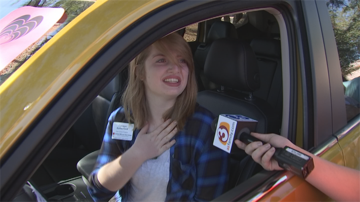 Cariayn Rutherford from Queen Creek won a brand new car for donating blood. (Source: 3TV/CBS 5)