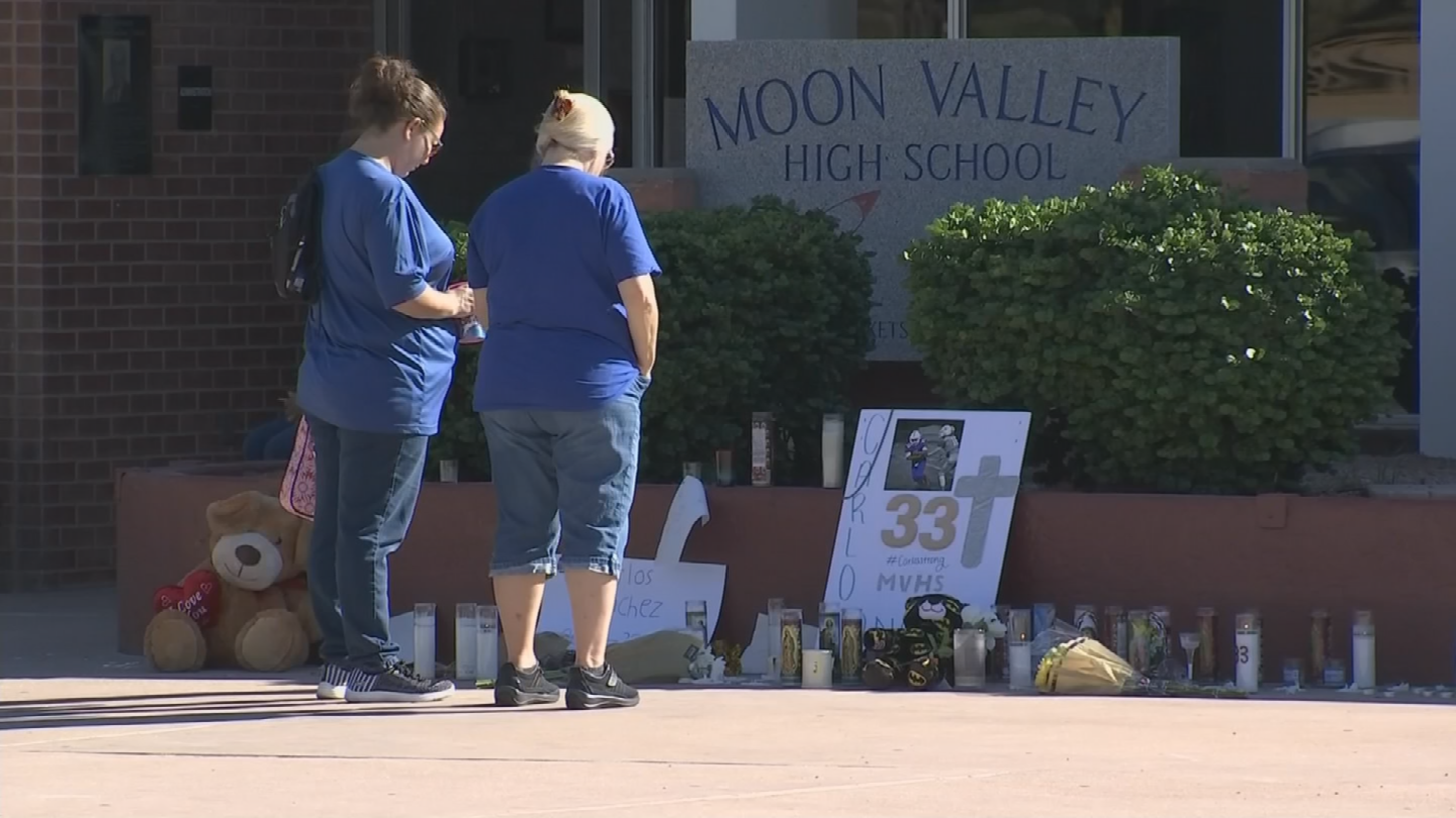 A memorial outside the school office continued to grow Monday as Sanchez's friends stop by to pay their respects. (Source: 3TV/CBS 5)