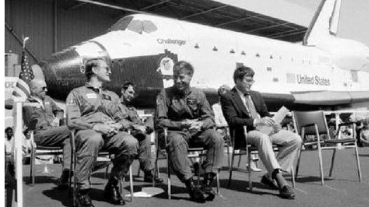 FILE - In this June 30, 1982, file photo, the new space shuttle Challenger sits behind the four astronauts that will fly it during turnover ceremonies at Rockwell International's final assembly site in Palmdale, Calif. From left: Dr. Story Musgrave, pilot