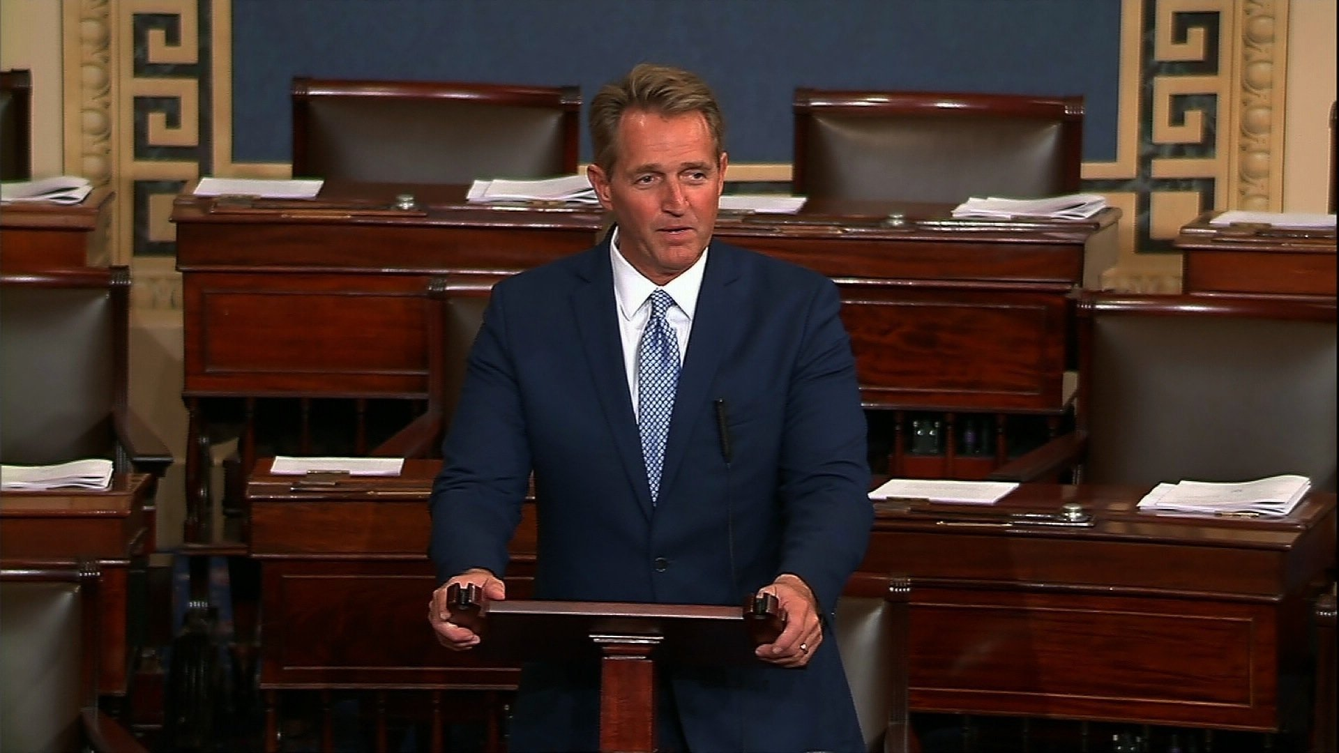 Republican Sen. Jeff Flake of Arizona will not run for re-election. He stated he wouldn't embrace President Donald Trump to win next year's Republican primary. (Source: C-SPAN2)