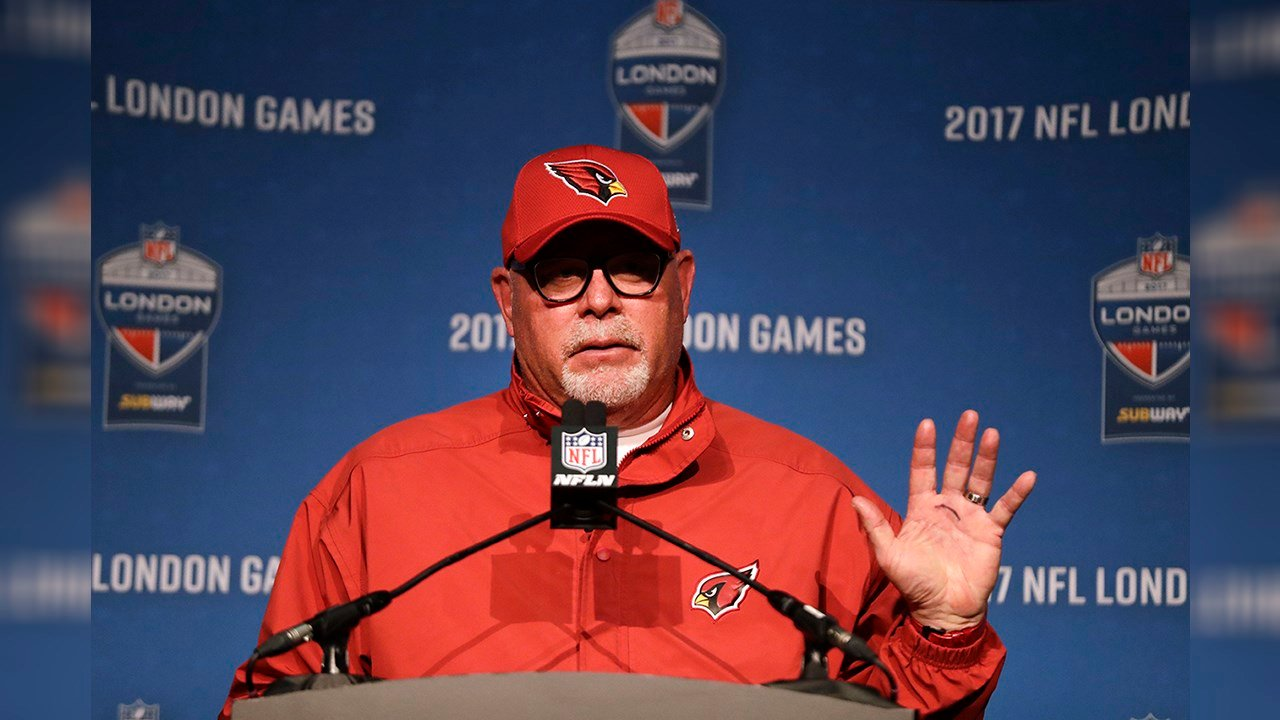 Arizona Cardinals head coach Bruce Arians gestures as he speaks at a press conference after an NFL football game against Los Angeles Rams at Twickenham Stadium in London, Sunday Oct. 22, 2017. (Source: AP Photo/Matt Dunham)