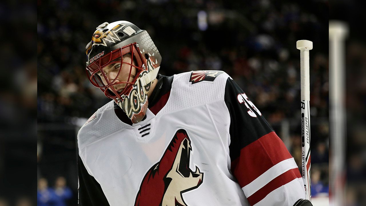 Arizona Coyotes goalie Louis Domingue (35) reacts during the second period of an NHL hockey game against the New York Islanders Tuesday, Oct. 24, 2017, in New York. (Source: AP Photo/Frank Franklin II)