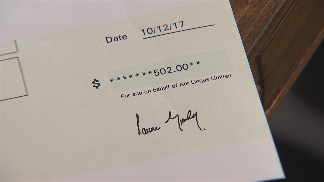And after asking Aer Lingus to consider returning Edens' $1,000, they did. (Source: 3TV)