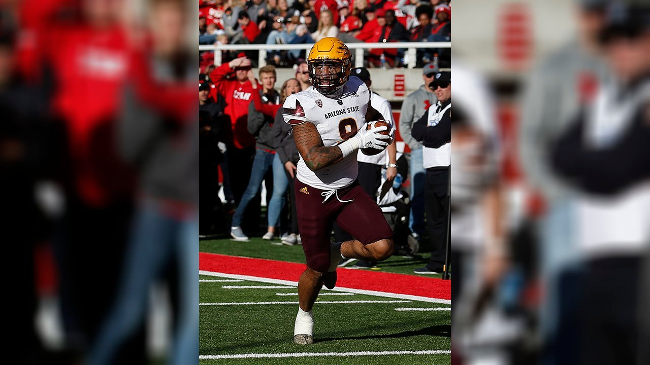 Arizona State's Jay Jay Wilson (9) scores on an interception in the second half during an NCAA college football game against Utah Saturday, Oct. 21, 2017, in Salt Lake City. (Source: AP Photo/Rick Bowmer)