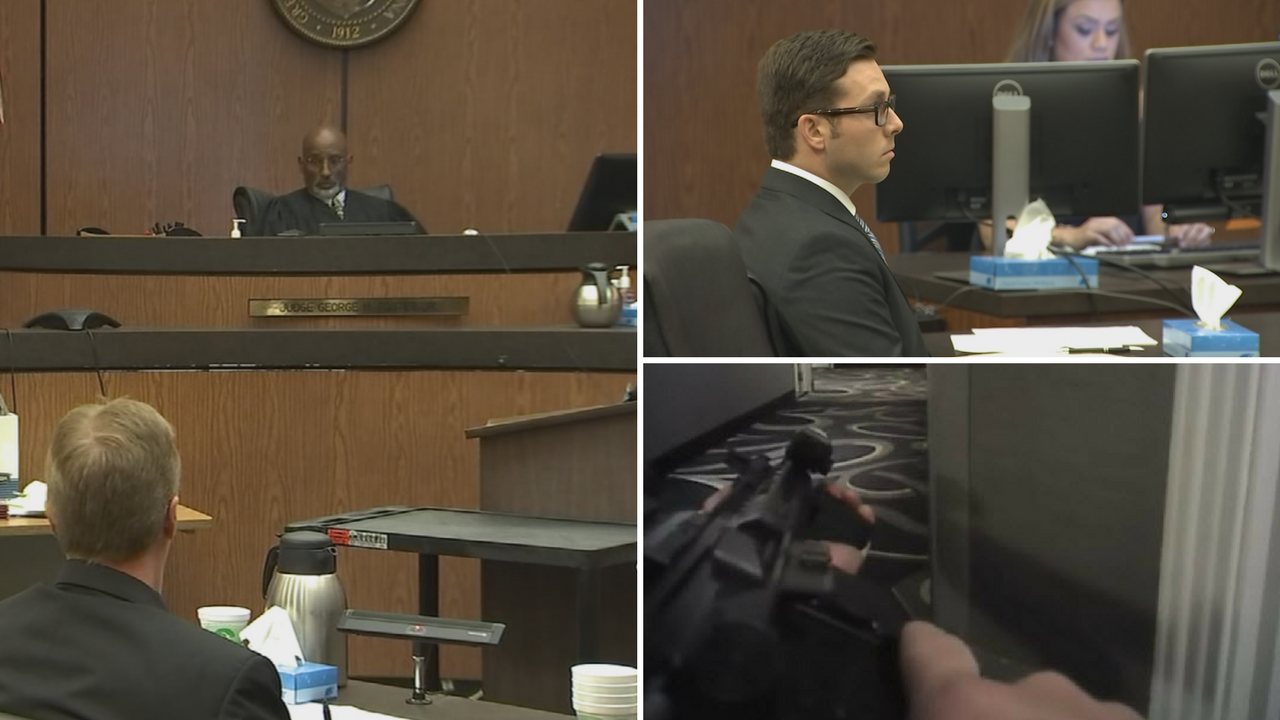 A judge ruled a video of the Mesa police officer fatally shooting an unarmed man who he sobbed and begged not to be shot can be shown to jurors. (Source: 3TV/CBS 5/Pool)