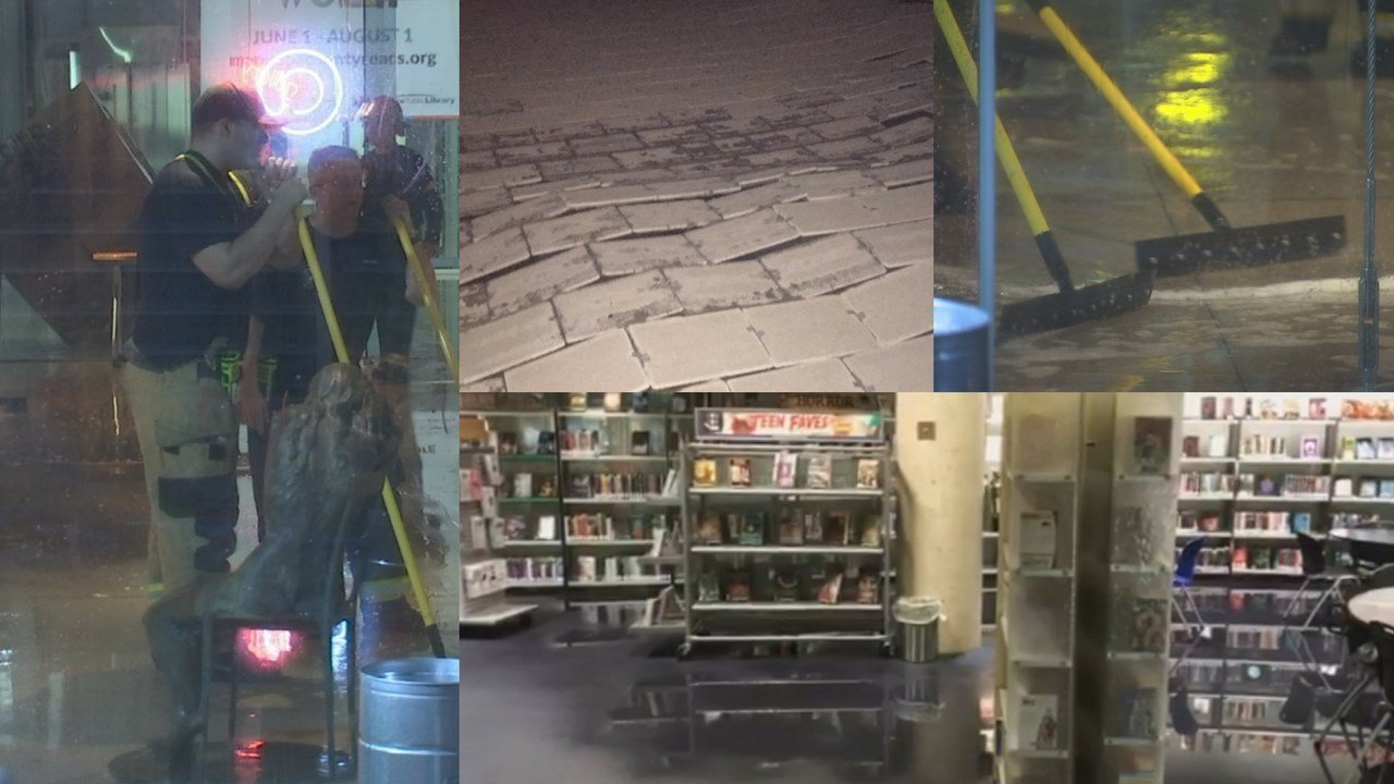 A powerful monsoon storm caused major damage to Phoenix's central library on Saturday night. (Source: 3TV/CBS 5)
