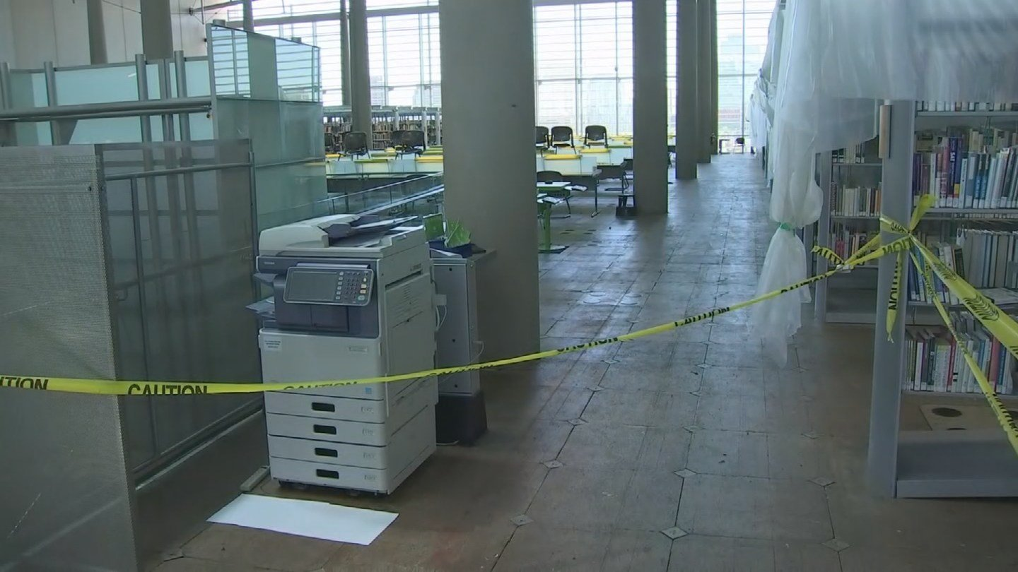 A view of the 5th floor of the library during a storm damage tour on Aug. 18. (Source: 3TV/CBS 5)