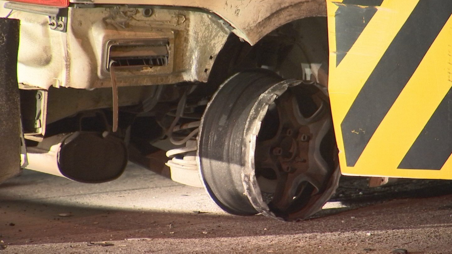 With the vehicle on its rims from the two spike strips used by authorities, the pursuit ended near the U.S. 60 and Rural Road just before midnight. (Source: 3TV/CBS 5)