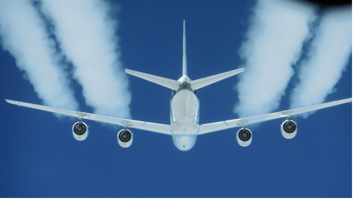 Contrails from a jet. (Source: NASA)