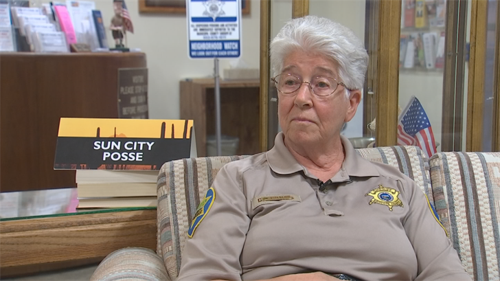 """""""We will be patrolling just like we are now,"""" said Sun City Posse Commander Mary Heiser. (Source: 3TV/CBS 5)"""