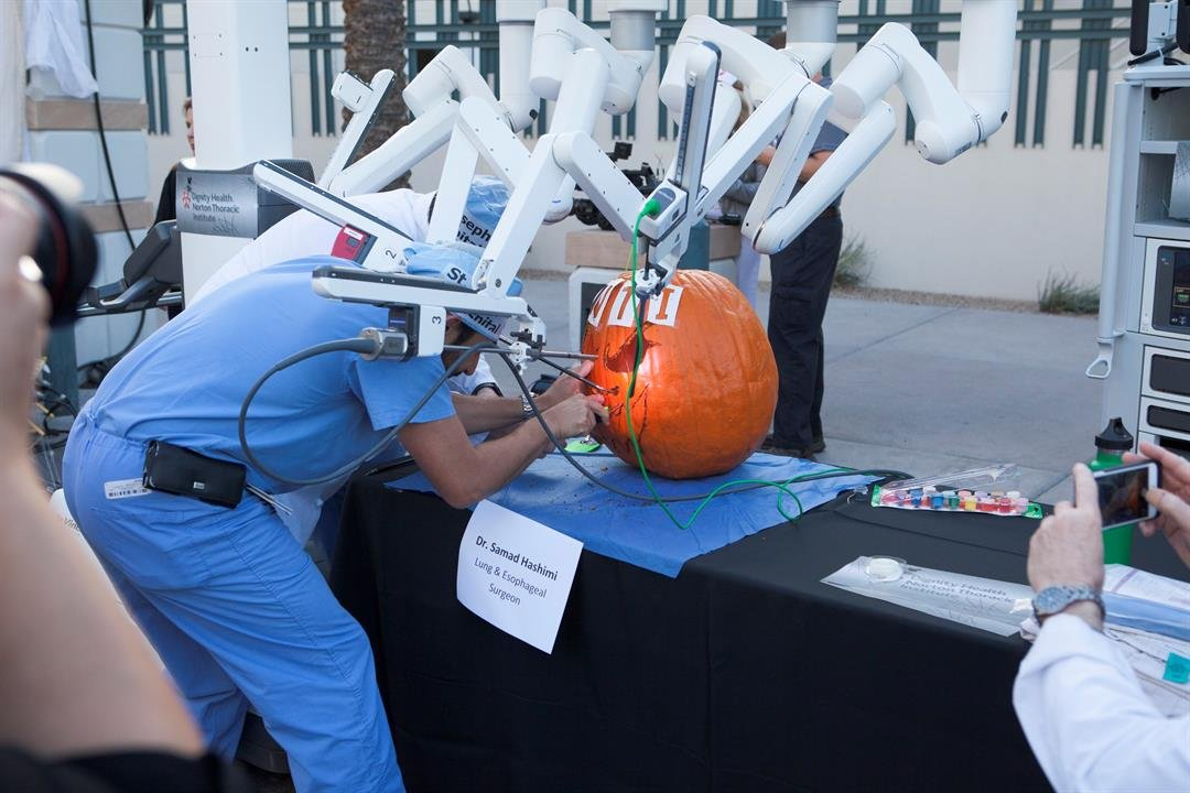 Dr. Samand Hashimi clearly had the mechanical upper hand with the high-tech sculpting. (Source: Dignity Health)
