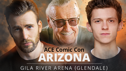 Chris Evans, Stan Lee and Tom Holland on a banner announcing the guest appearance of Stan Lee to ACE Comic Con. (Source: Facebook/Ace Comic Con)