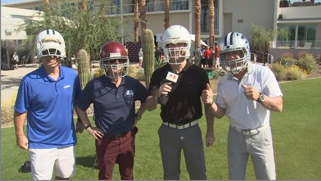 AZFamily's Scott Pasmore, Sean McLaughlin, Mark McClune & ArizonaSports Doug Franz take aim at the Fiesta Bowl Media Challenge. (Source: 3TV/CBS 5)