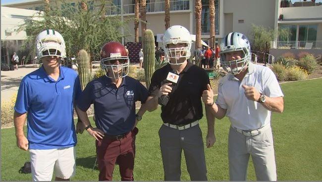 AZFamily's Scott Pasmore, Sean McLaughlin, Mark McClune & ArizonaSports Doug Franz take aim at the Fiesta Bowl Media Challenge. (Source: 3TV/CBS 5)