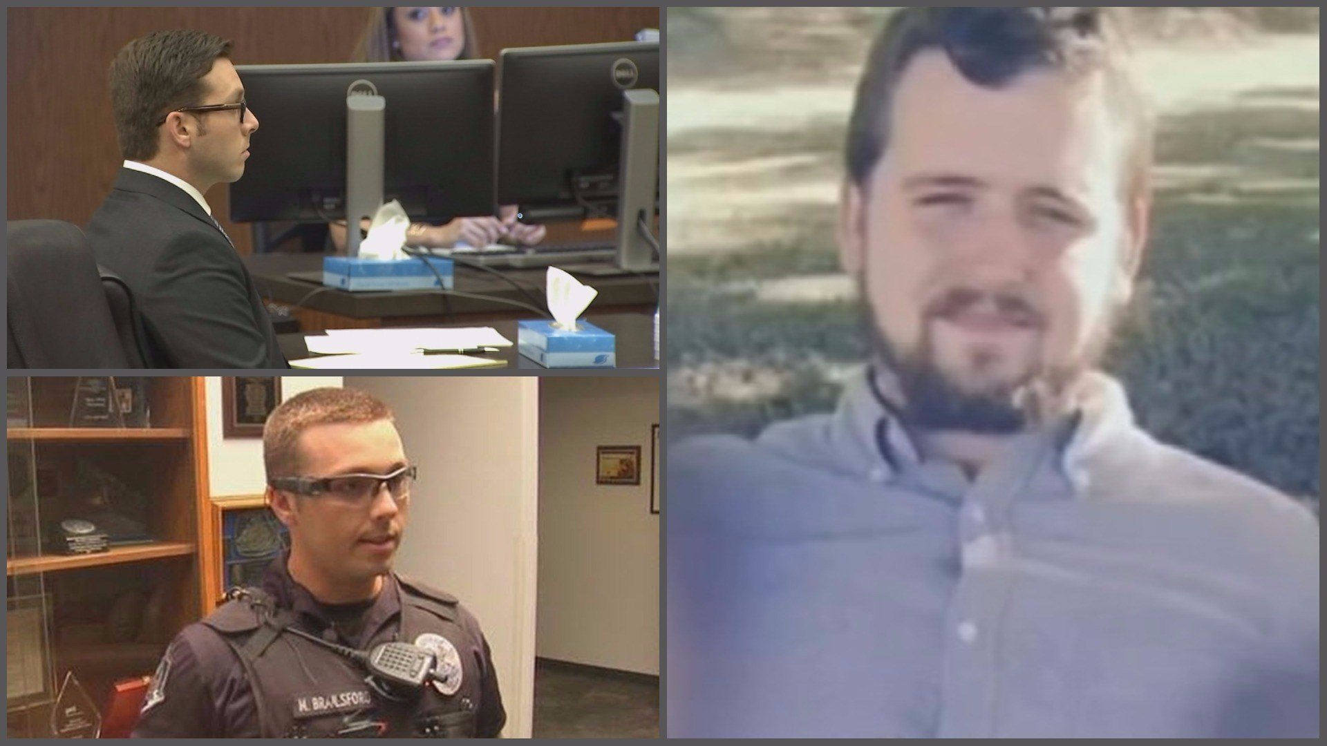 Former Mesa police officer Mitch Brailsford (left) is being tried for murder in the January 2016 shooting death of Daniel Shaver (right) at a Mesa hotel. (Source: 3TV/CBS 5 file photos)