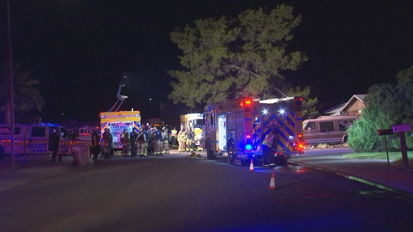 The house fire broke out near Union Hills Drive and 59th Avenuearound 10:50 p.m. Thursday. (Source: 3TV/CBS 5)