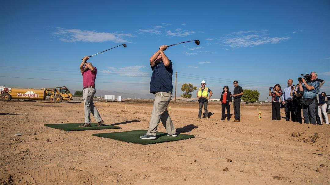 Groundbreakers teeing-off on the construction site of the newsest Topgolf addition to the Valley. (Source: Topgolf/ Ben & Kelly photography)
