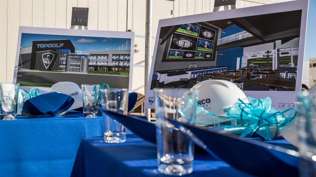 Sneak peek images of the design and layout of the new Topgolf venue. (Source: Topgolf/ Ben & Kelly photography)