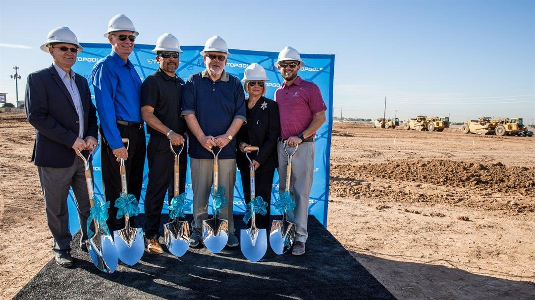 Glendale Mayor Jerry Weiers with other groundbreakers at the new Topgolf location construction site.(Source: Topgolf/ Ben & Kelly photography)