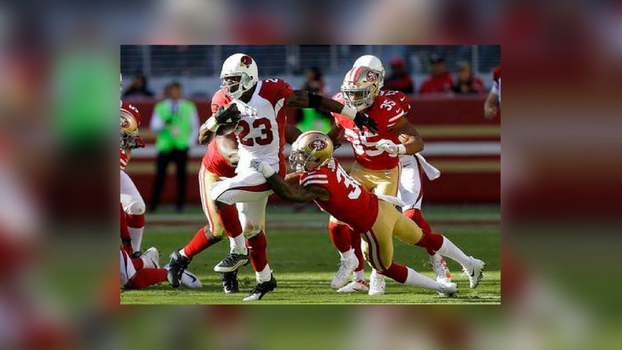 Arizona Cardinals running back Adrian Peterson (23) runs against the San Francisco 49ers during the first half of an NFL football game in Santa Clara, Calif., Sunday, Nov. 5, 2017. (Source: AP Photo/Ben Margot)