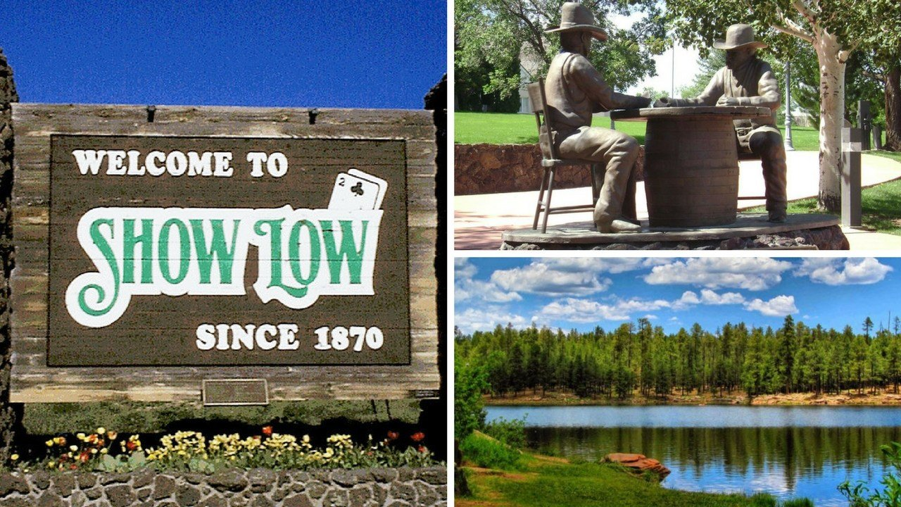 The city of Show Low sign welcomes visitors. 5 Nov. 2017 (Source: Show Low Chamber of Commerce)