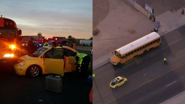 A Maricopa crash involving a school bus closed northbound State Route 347 during rush hour early Monday morning, said the Maricopa Police Department. (Source: 3TV/CBS 5/Maricopa PD)
