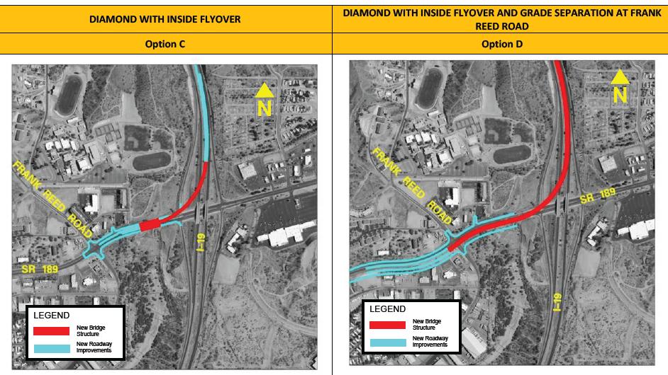 Options C and D for the SR 189 improvements near Nogales, Arizona. (Source: Arizona Department of Transportation)