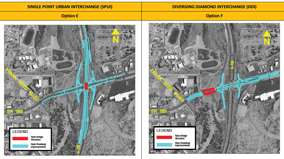 Options E and F for the improvements to be made on SR 189.(Source: Arizona Department of Transportation)