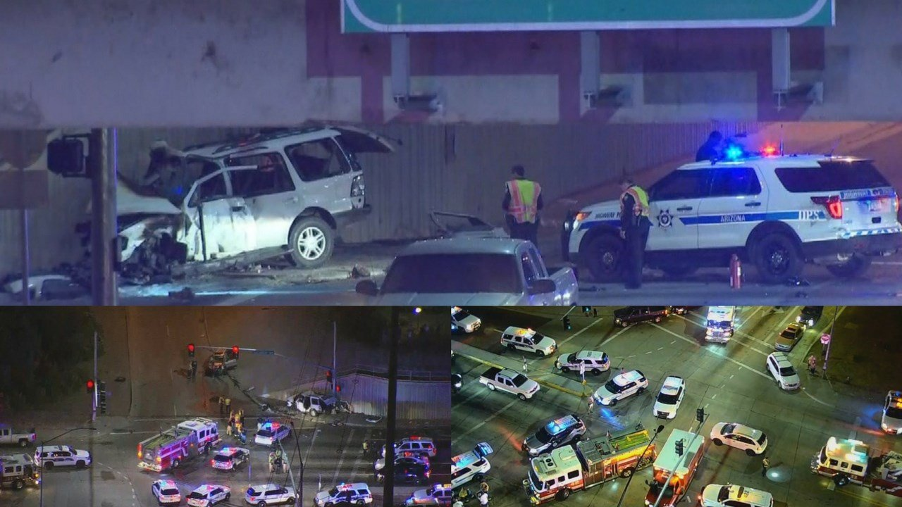 Three people have died after a crash on Greenway Road at Interstate 17 in Phoenix on Monday night, according to police. (Source: 3TV/CBS 5/ADOT)
