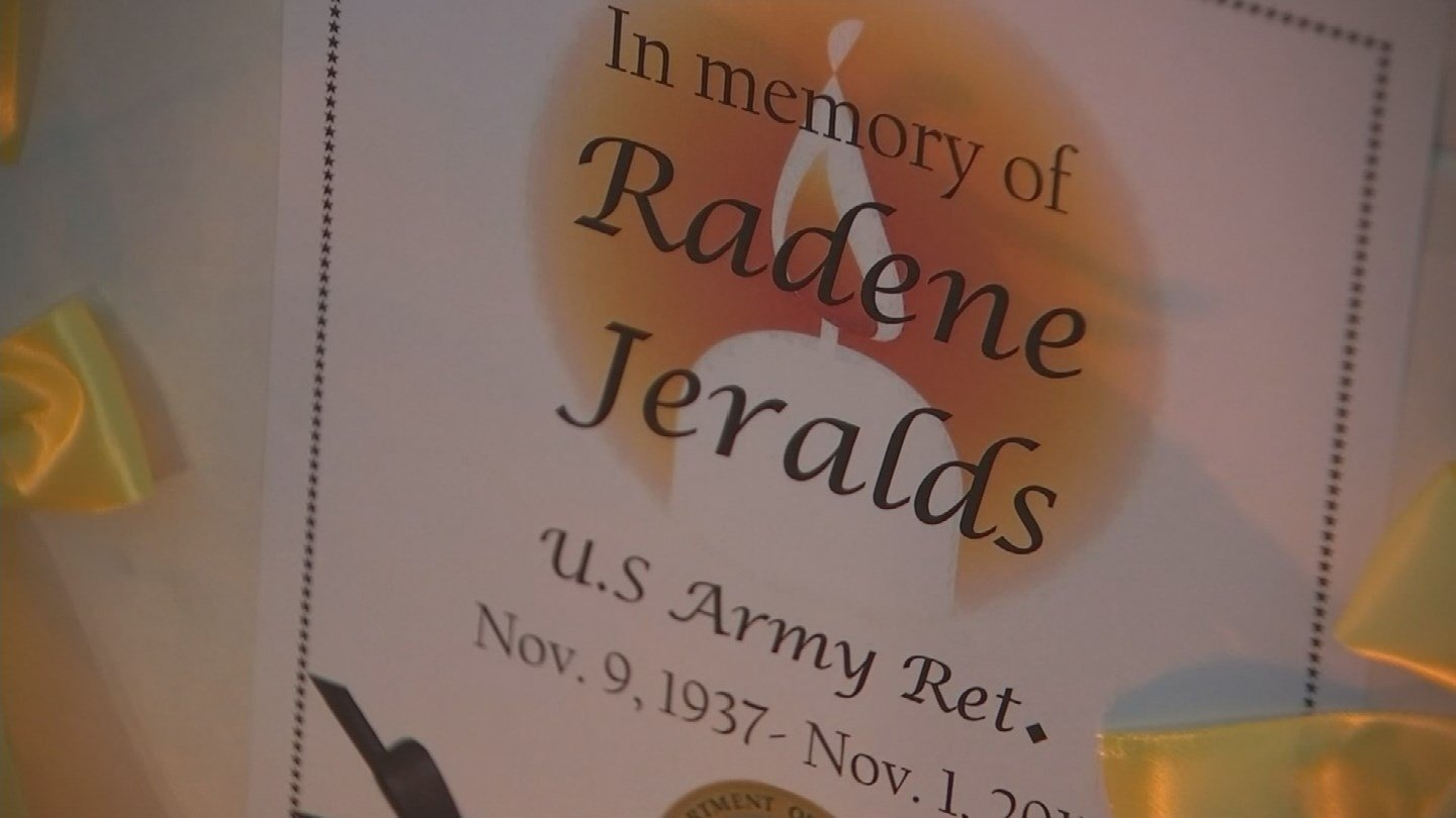 Several people gathered at the crosswalk of Jones Avenue and Seventh Street to remember 79-year-old veteran Radene Jeralds. (Source: 3TV/CBS 5)