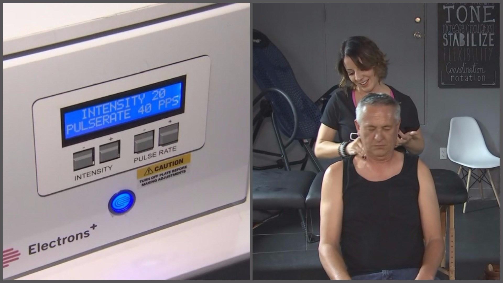 COR owner Kiki Cordero works some PEMFT magic on Arizona's Family photojournalist Arnold Espinoza.(Source: 3TV/CBS 5)
