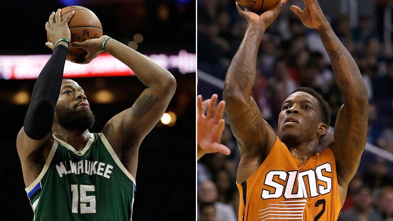 The Suns said Milwaukee Bucks' Greg Monroe (15) is coming to Phoenix in exchange for unhappy point guard Eric Bledsoe (2). (Source: AP Photo/File)